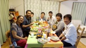 Enjoying dinner at professor's home.